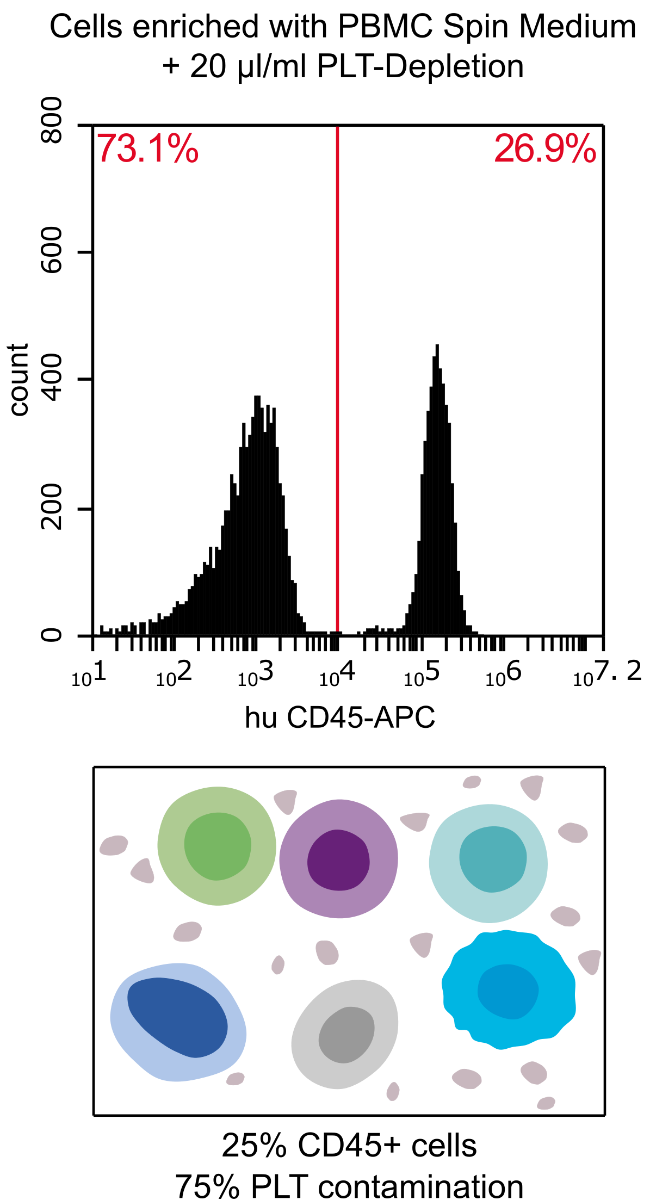 Cells enriched with PBMC Spin Medium with 20 µm/ml PLT Depletion